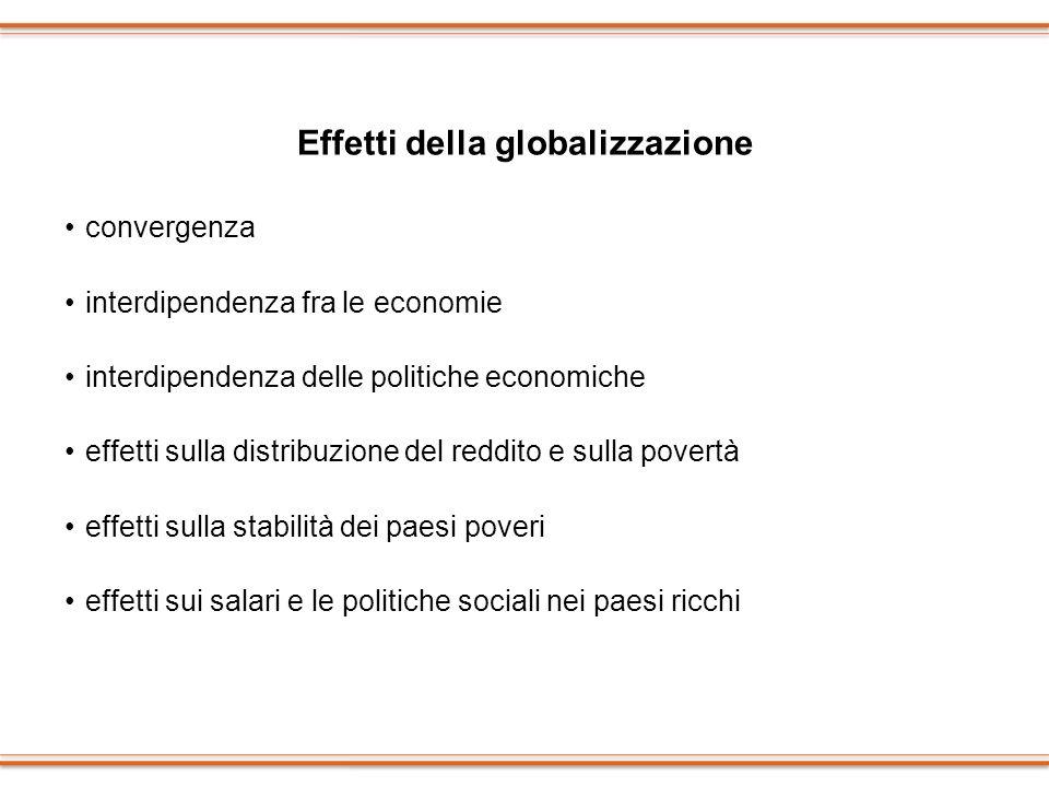 Effetti della globalizzazione convergenza interdipendenza fra le economie interdipendenza delle politiche economiche effetti sulla distribuzione del r