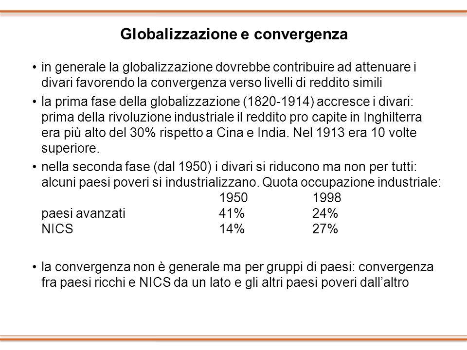 Globalizzazione e convergenza in generale la globalizzazione dovrebbe contribuire ad attenuare i divari favorendo la convergenza verso livelli di redd