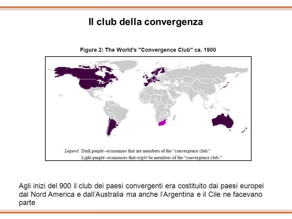 Il club della convergenza Agli inizi del 900 il club dei paesi convergenti era costituito dai paesi europei dal Nord America e dallAustralia ma anche