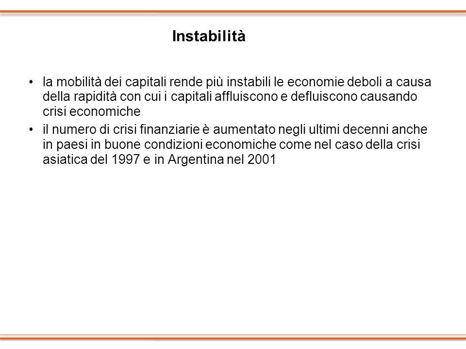 la mobilità dei capitali rende più instabili le economie deboli a causa della rapidità con cui i capitali affluiscono e defluiscono causando crisi eco