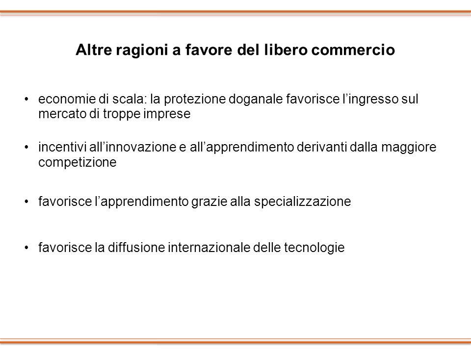 Altre ragioni a favore del libero commercio economie di scala: la protezione doganale favorisce lingresso sul mercato di troppe imprese incentivi alli
