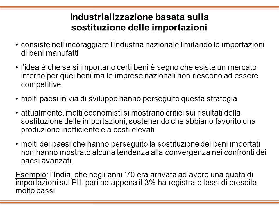 Industrializzazione basata sulla sostituzione delle importazioni consiste nellincoraggiare lindustria nazionale limitando le importazioni di beni manu