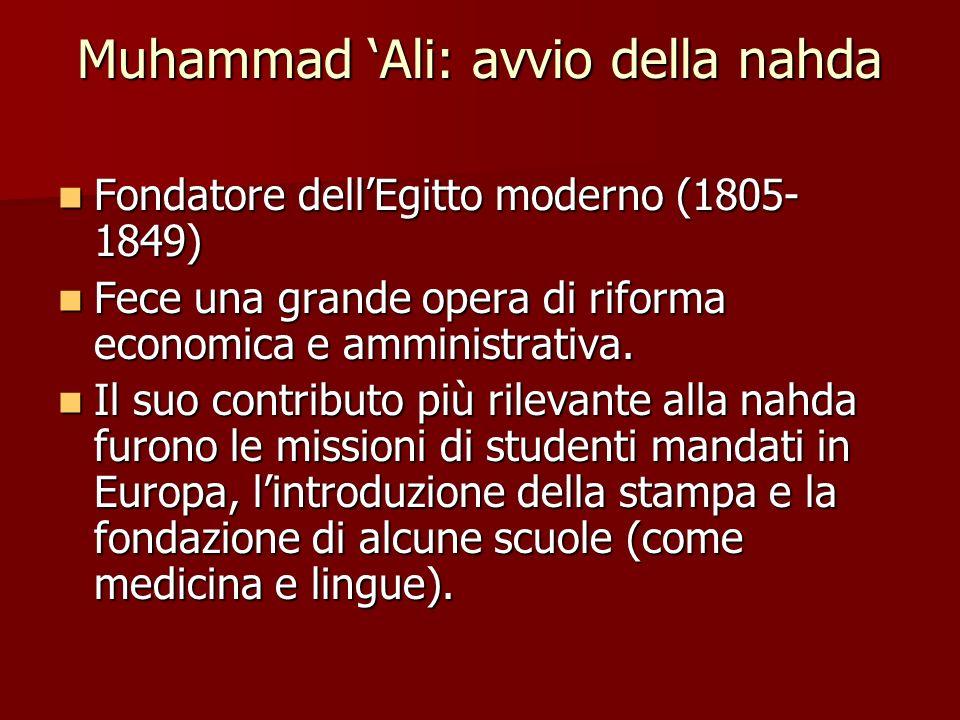 Muhammad Ali: avvio della nahda Fondatore dellEgitto moderno (1805- 1849) Fondatore dellEgitto moderno (1805- 1849) Fece una grande opera di riforma e