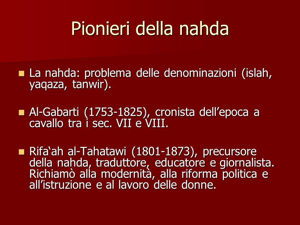 Pionieri della nahda La nahda: problema delle denominazioni (islah, yaqaza, tanwir). La nahda: problema delle denominazioni (islah, yaqaza, tanwir). A
