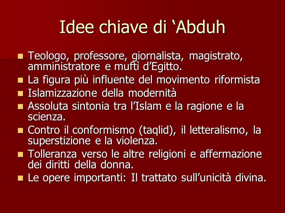 Idee chiave di Abduh Teologo, professore, giornalista, magistrato, amministratore e muftì dEgitto. Teologo, professore, giornalista, magistrato, ammin