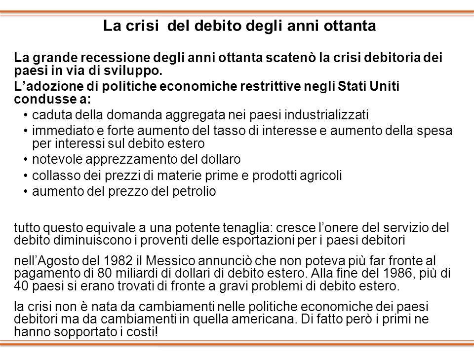 La crisi del debito degli anni ottanta La grande recessione degli anni ottanta scatenò la crisi debitoria dei paesi in via di sviluppo. Ladozione di p