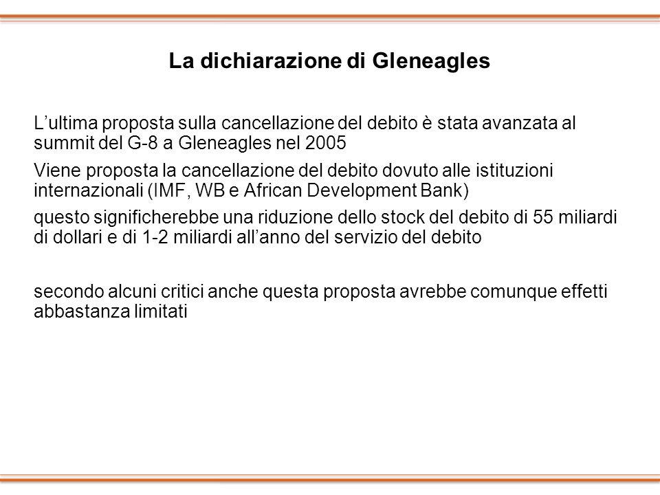 La dichiarazione di Gleneagles Lultima proposta sulla cancellazione del debito è stata avanzata al summit del G-8 a Gleneagles nel 2005 Viene proposta