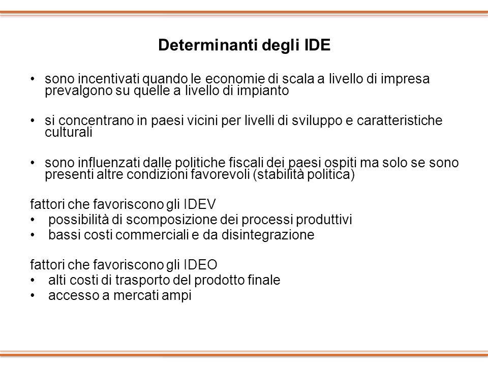 Determinanti degli IDE sono incentivati quando le economie di scala a livello di impresa prevalgono su quelle a livello di impianto si concentrano in