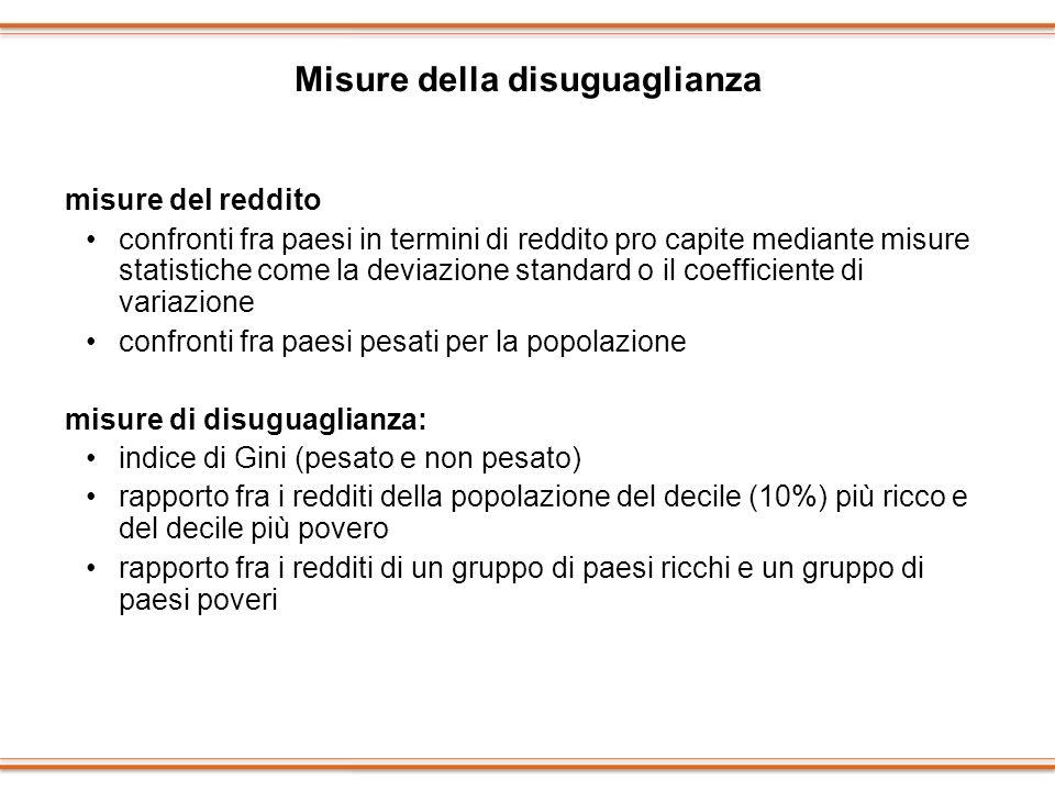 Misure della disuguaglianza misure del reddito confronti fra paesi in termini di reddito pro capite mediante misure statistiche come la deviazione sta