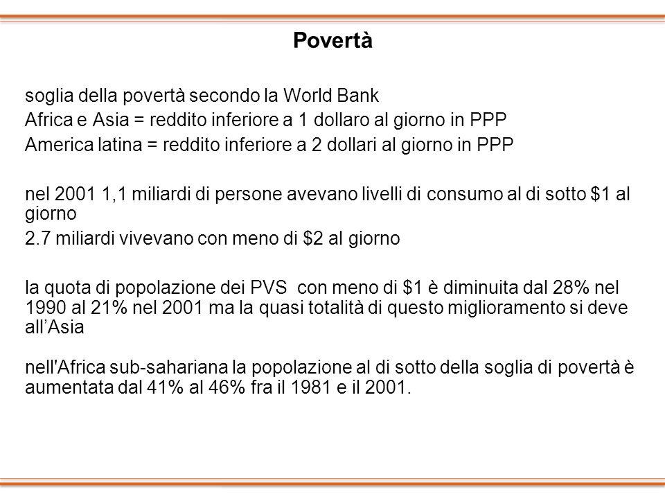 Povertà soglia della povertà secondo la World Bank Africa e Asia = reddito inferiore a 1 dollaro al giorno in PPP America latina = reddito inferiore a