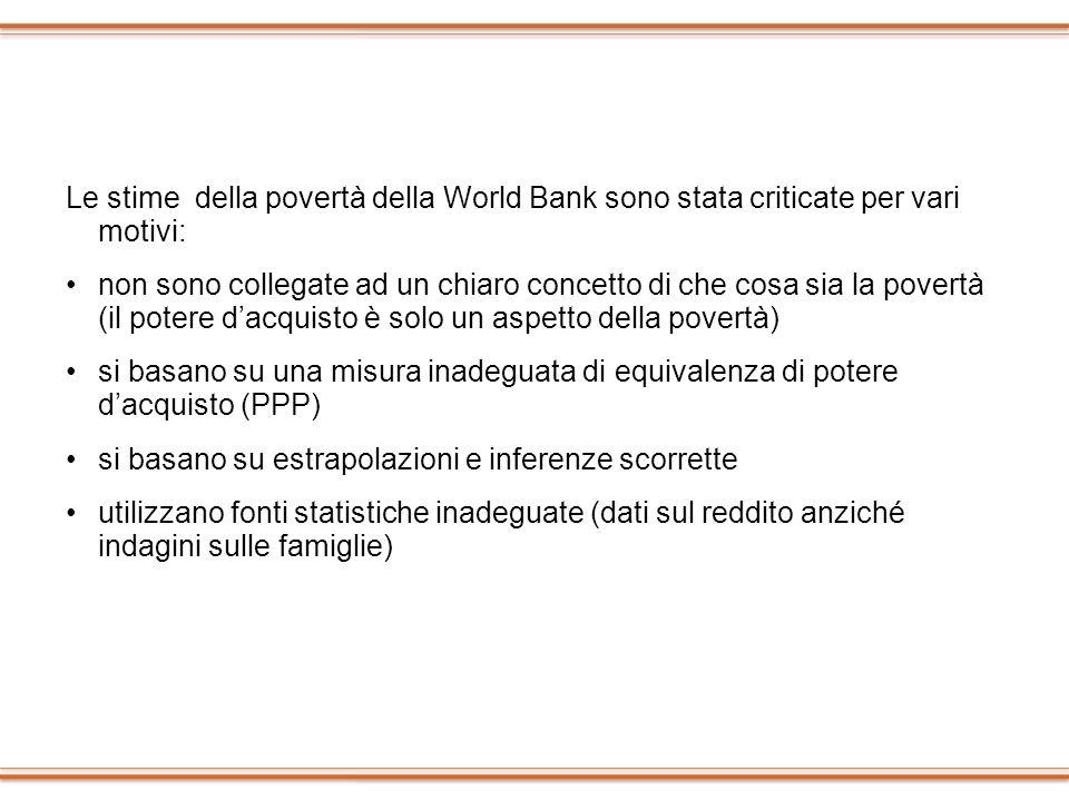 Le stime della povertà della World Bank sono stata criticate per vari motivi: non sono collegate ad un chiaro concetto di che cosa sia la povertà (il