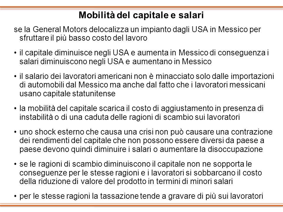 Mobilità del capitale e salari se la General Motors delocalizza un impianto dagli USA in Messico per sfruttare il più basso costo del lavoro il capita