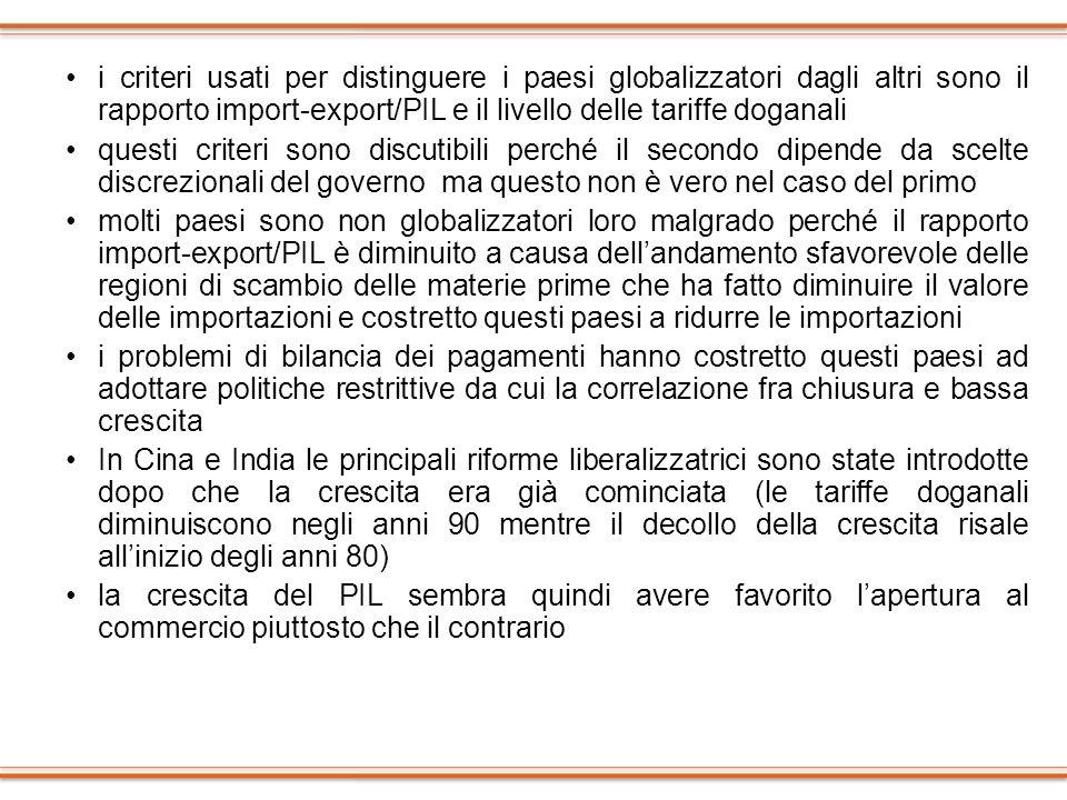 i criteri usati per distinguere i paesi globalizzatori dagli altri sono il rapporto import-export/PIL e il livello delle tariffe doganali questi crite