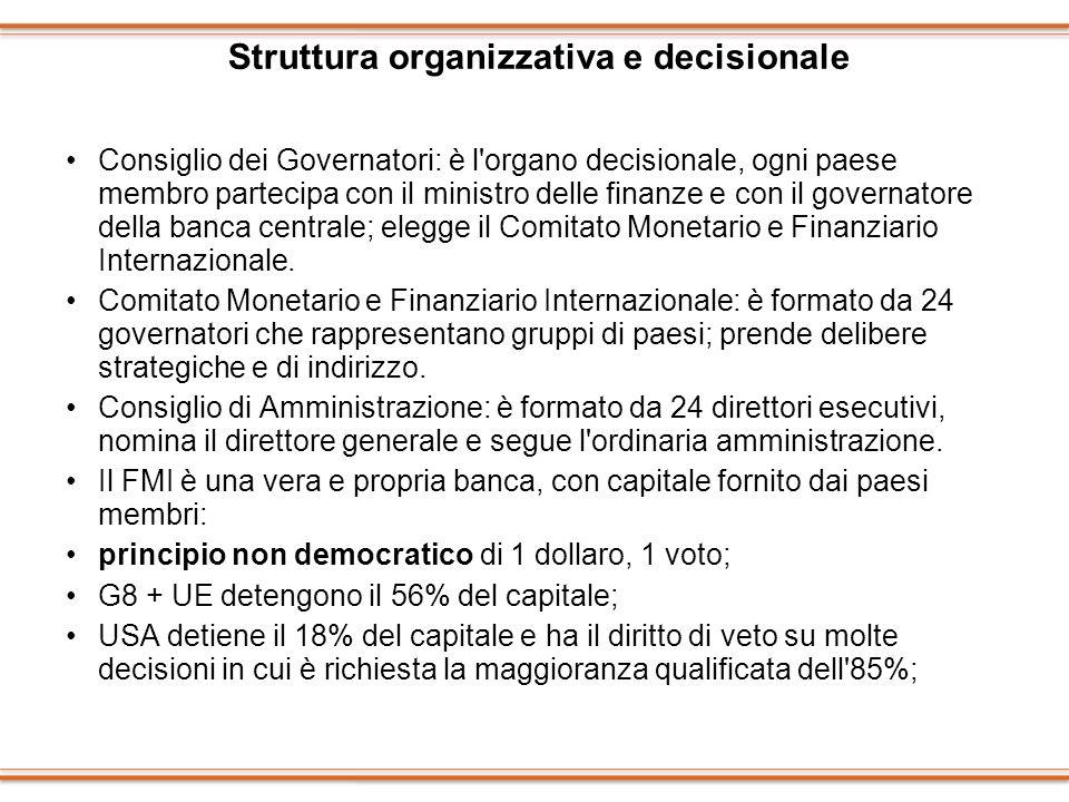 Struttura organizzativa e decisionale Consiglio dei Governatori: è l'organo decisionale, ogni paese membro partecipa con il ministro delle finanze e c