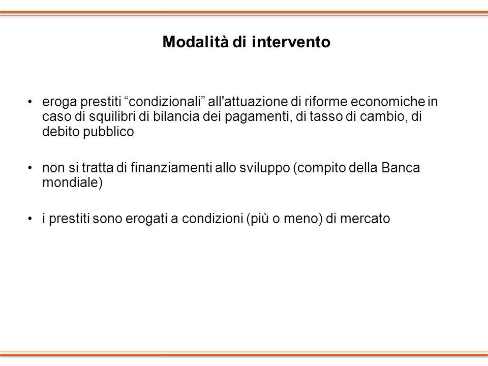 Modalità di intervento eroga prestiti condizionali all'attuazione di riforme economiche in caso di squilibri di bilancia dei pagamenti, di tasso di ca