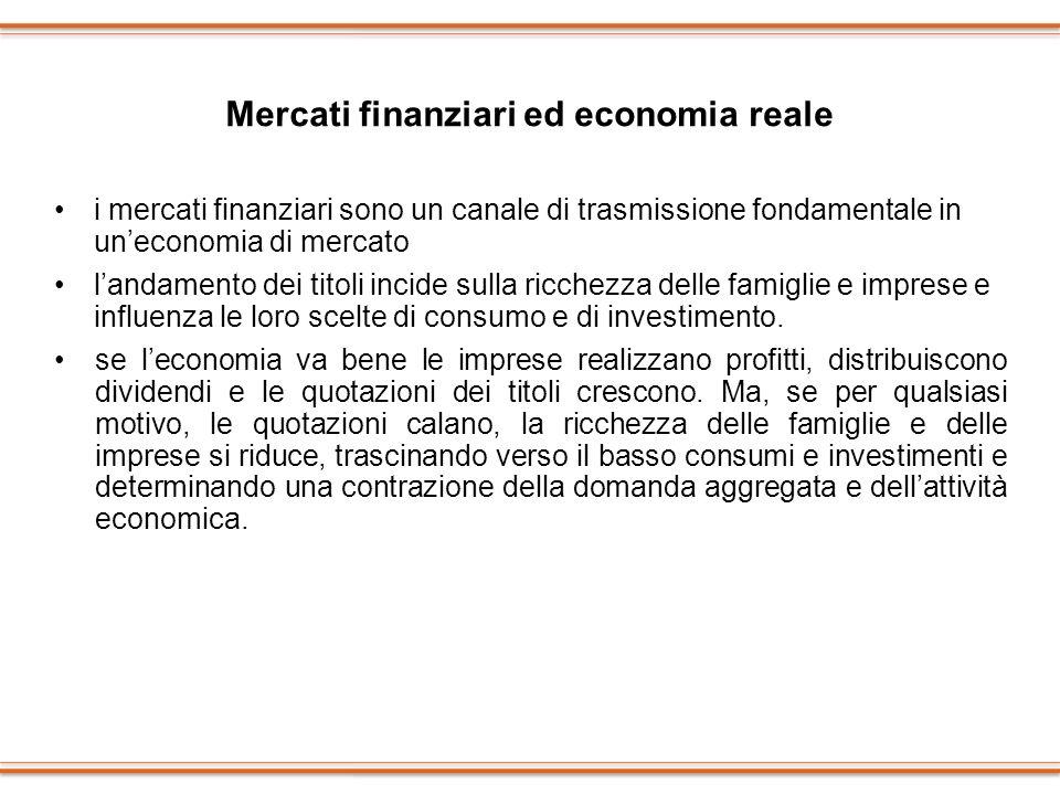 Mercati finanziari ed economia reale i mercati finanziari sono un canale di trasmissione fondamentale in uneconomia di mercato landamento dei titoli i