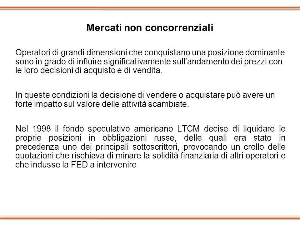 Mercati non concorrenziali Operatori di grandi dimensioni che conquistano una posizione dominante sono in grado di influire significativamente sulland