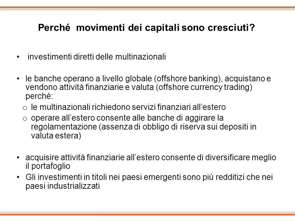 Perché movimenti dei capitali sono cresciuti? investimenti diretti delle multinazionali le banche operano a livello globale (offshore banking), acquis