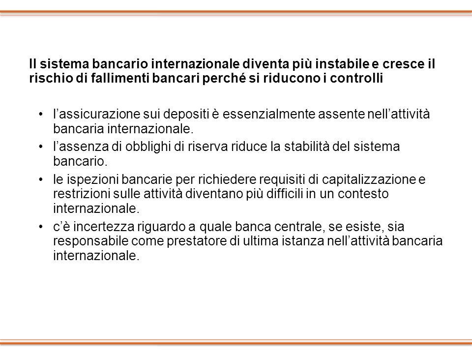 Il sistema bancario internazionale diventa più instabile e cresce il rischio di fallimenti bancari perché si riducono i controlli lassicurazione sui d