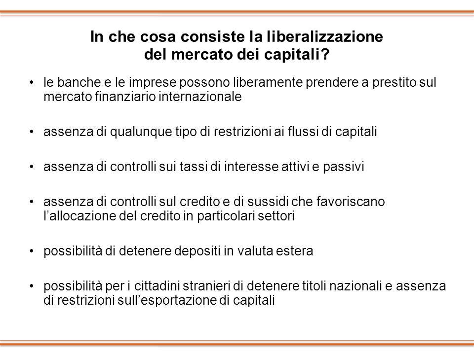 In che cosa consiste la liberalizzazione del mercato dei capitali? le banche e le imprese possono liberamente prendere a prestito sul mercato finanzia