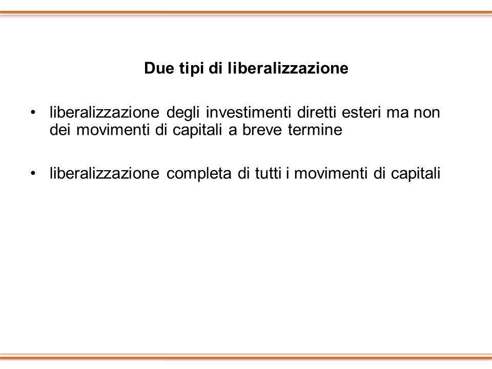 Due tipi di liberalizzazione liberalizzazione degli investimenti diretti esteri ma non dei movimenti di capitali a breve termine liberalizzazione comp