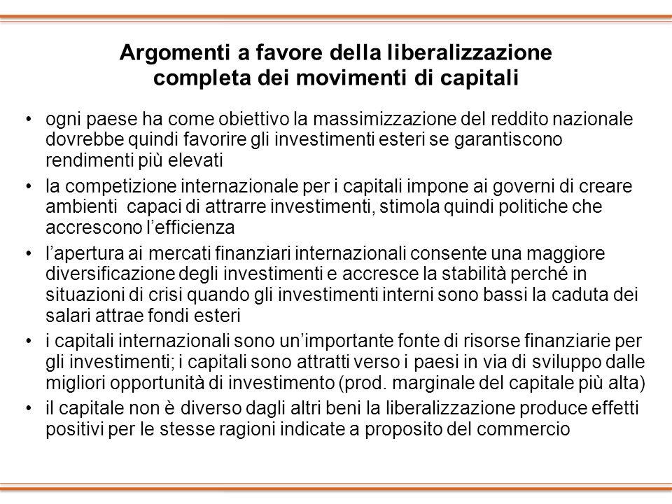 Argomenti a favore della liberalizzazione completa dei movimenti di capitali ogni paese ha come obiettivo la massimizzazione del reddito nazionale dov