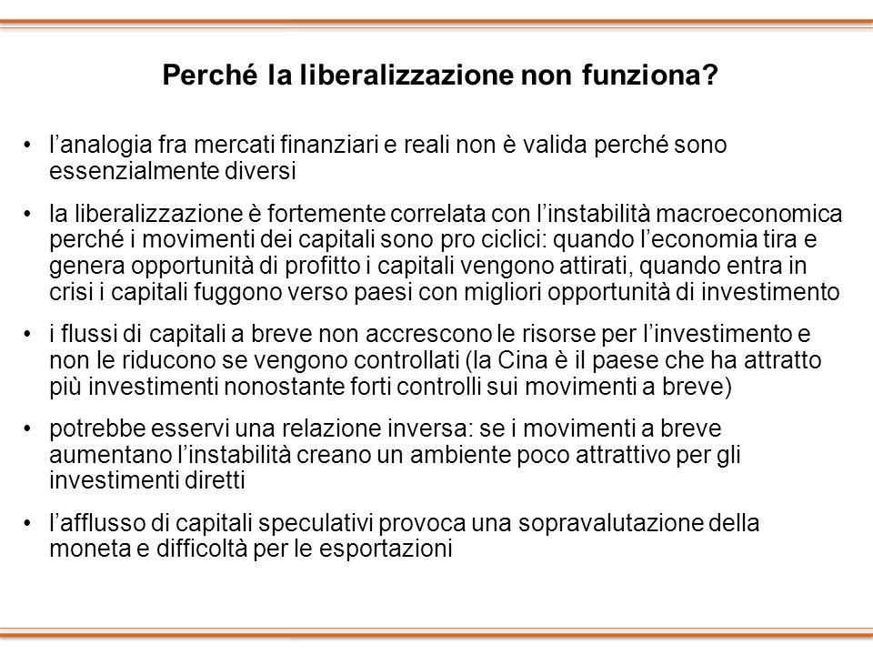 Perché la liberalizzazione non funziona? lanalogia fra mercati finanziari e reali non è valida perché sono essenzialmente diversi la liberalizzazione
