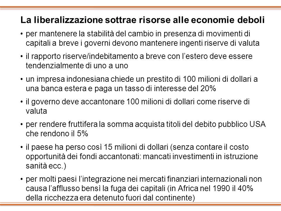 La liberalizzazione sottrae risorse alle economie deboli per mantenere la stabilità del cambio in presenza di movimenti di capitali a breve i governi