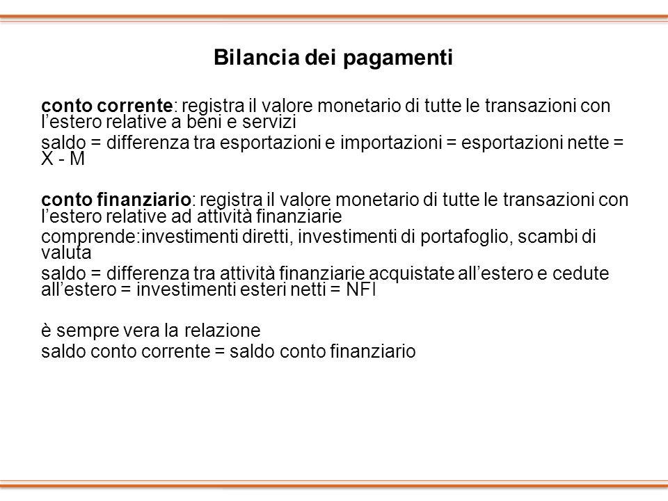 Bilancia dei pagamenti conto corrente: registra il valore monetario di tutte le transazioni con lestero relative a beni e servizi saldo = differenza t