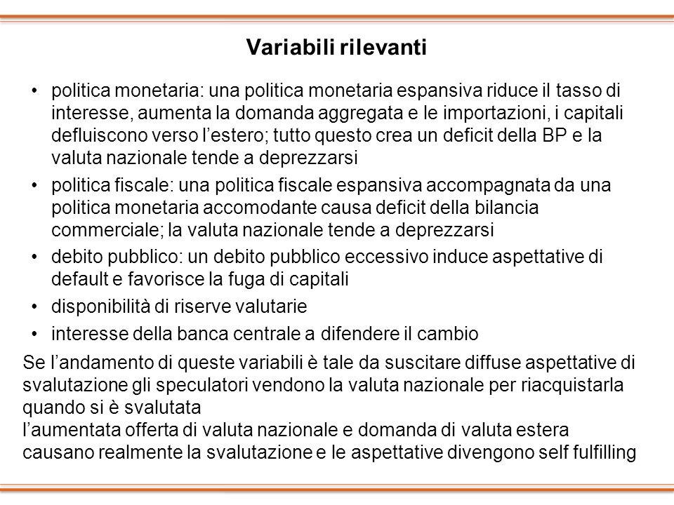 Variabili rilevanti politica monetaria: una politica monetaria espansiva riduce il tasso di interesse, aumenta la domanda aggregata e le importazioni,