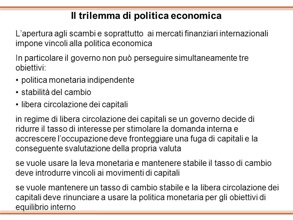 Il trilemma di politica economica Lapertura agli scambi e soprattutto ai mercati finanziari internazionali impone vincoli alla politica economica In p