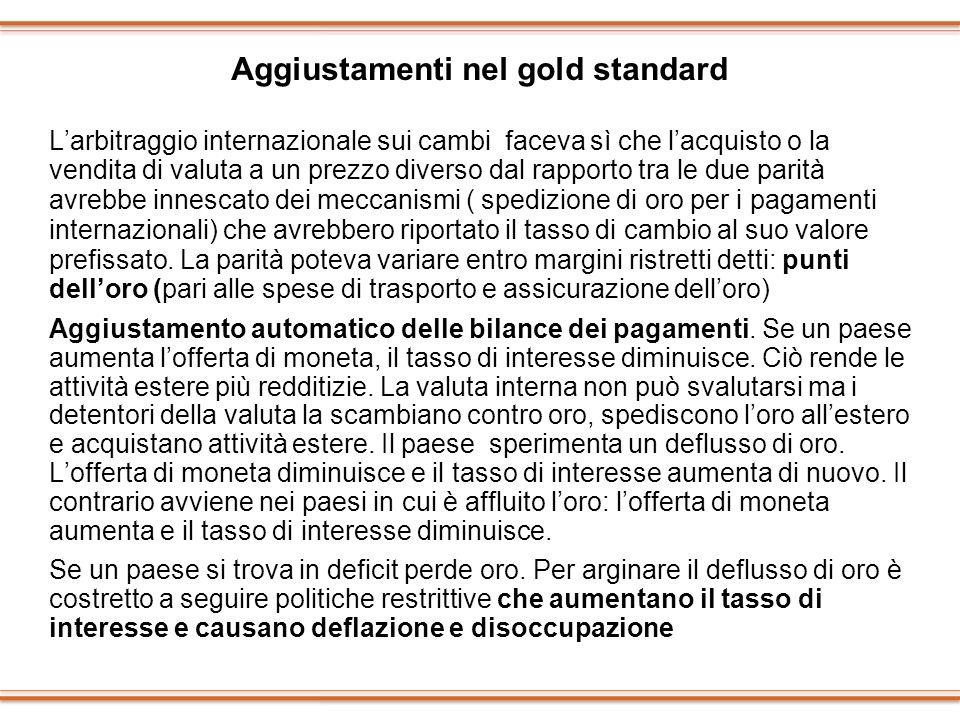 Aggiustamenti nel gold standard Larbitraggio internazionale sui cambi faceva sì che lacquisto o la vendita di valuta a un prezzo diverso dal rapporto