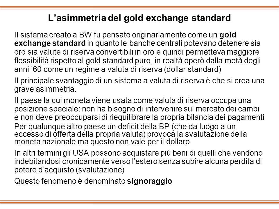 Lasimmetria del gold exchange standard Il sistema creato a BW fu pensato originariamente come un gold exchange standard in quanto le banche centrali p