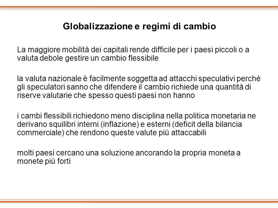 Globalizzazione e regimi di cambio La maggiore mobilità dei capitali rende difficile per i paesi piccoli o a valuta debole gestire un cambio flessibil