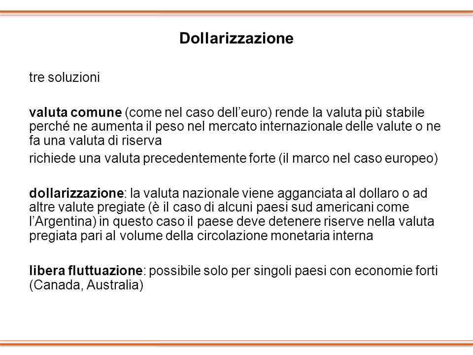 Dollarizzazione tre soluzioni valuta comune (come nel caso delleuro) rende la valuta più stabile perché ne aumenta il peso nel mercato internazionale