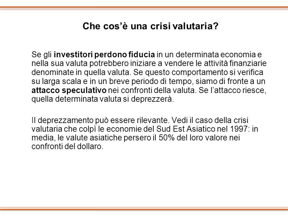 Che cosè una crisi valutaria? Se gli investitori perdono fiducia in un determinata economia e nella sua valuta potrebbero iniziare a vendere le attivi