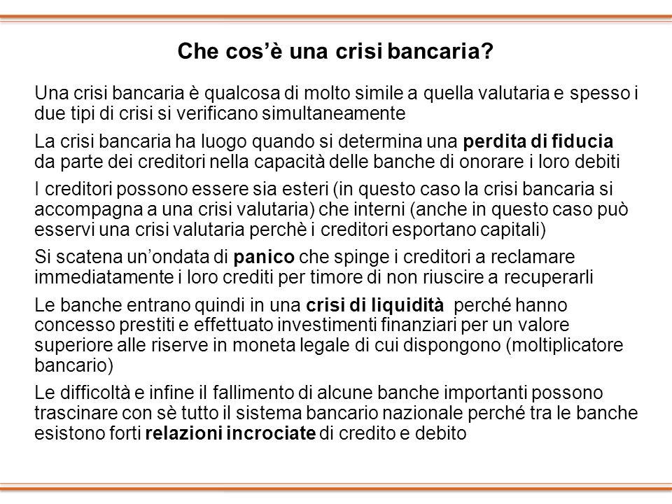 Che cosè una crisi bancaria? Una crisi bancaria è qualcosa di molto simile a quella valutaria e spesso i due tipi di crisi si verificano simultaneamen