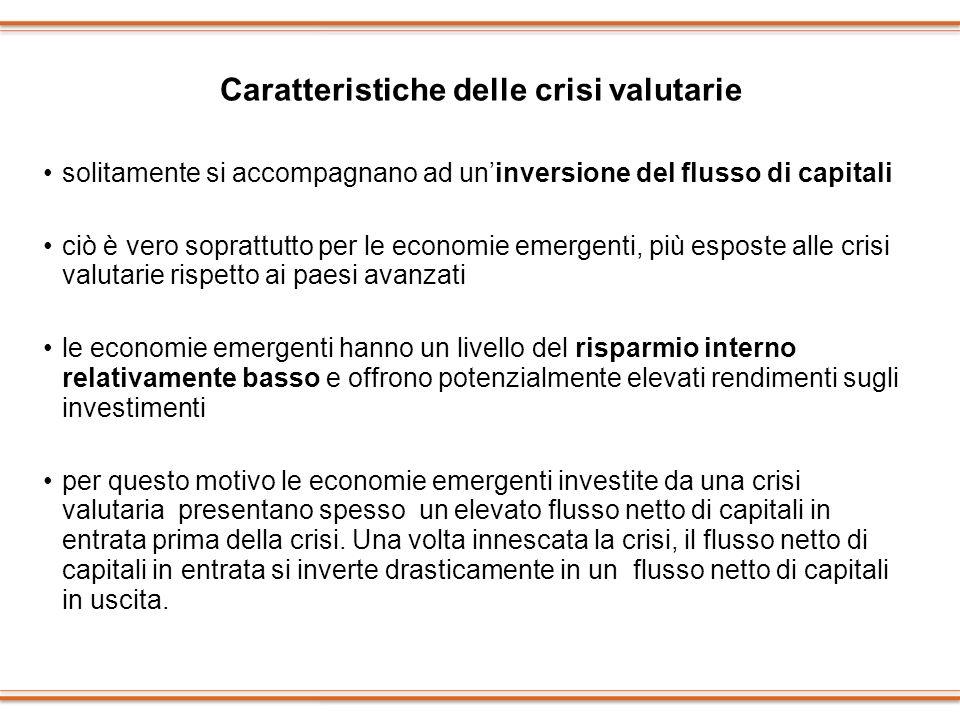 Caratteristiche delle crisi valutarie solitamente si accompagnano ad uninversione del flusso di capitali ciò è vero soprattutto per le economie emerge