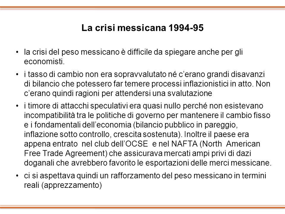 La crisi messicana 1994-95 la crisi del peso messicano è difficile da spiegare anche per gli economisti. i tasso di cambio non era sopravvalutato né c