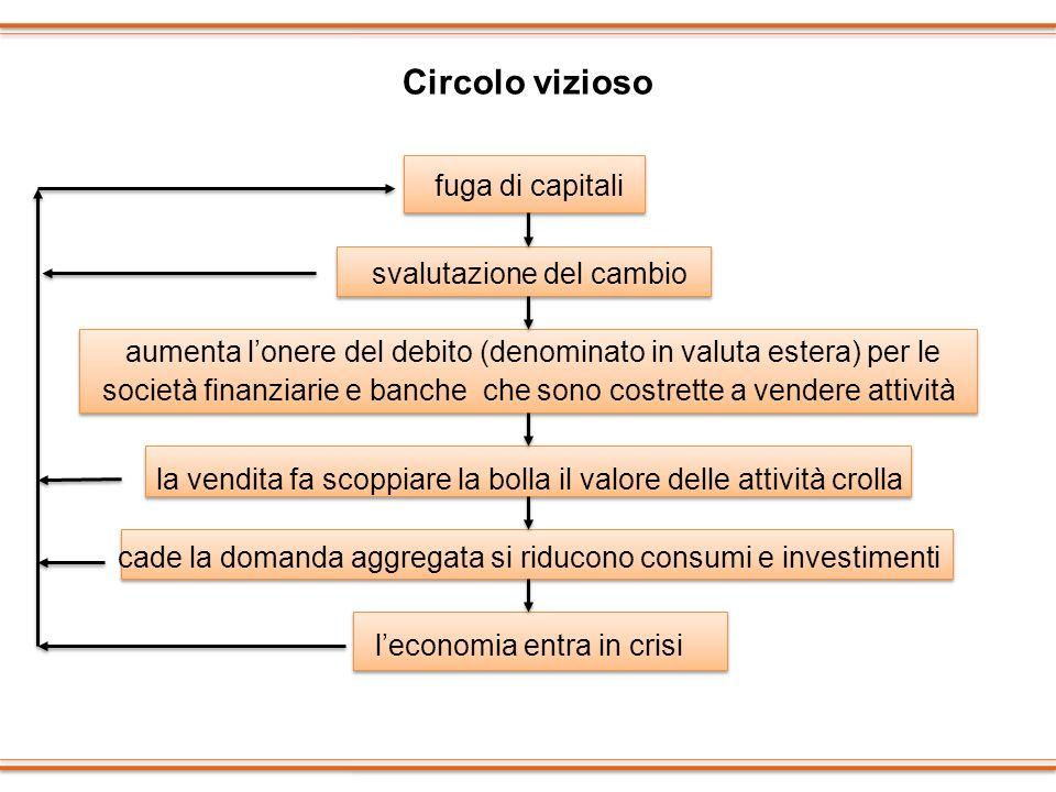 Circolo vizioso fuga di capitali svalutazione del cambio aumenta lonere del debito (denominato in valuta estera) per le società finanziarie e banche c