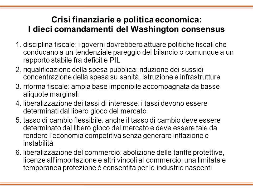 Crisi finanziarie e politica economica: I dieci comandamenti del Washington consensus 1. disciplina fiscale: i governi dovrebbero attuare politiche fi