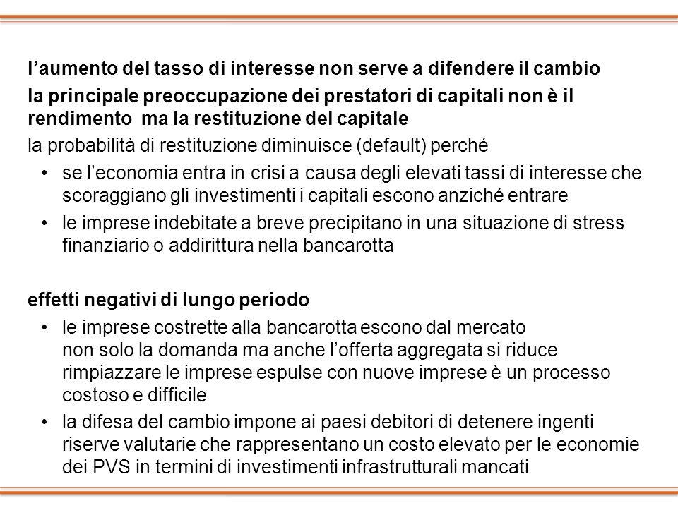 laumento del tasso di interesse non serve a difendere il cambio la principale preoccupazione dei prestatori di capitali non è il rendimento ma la rest