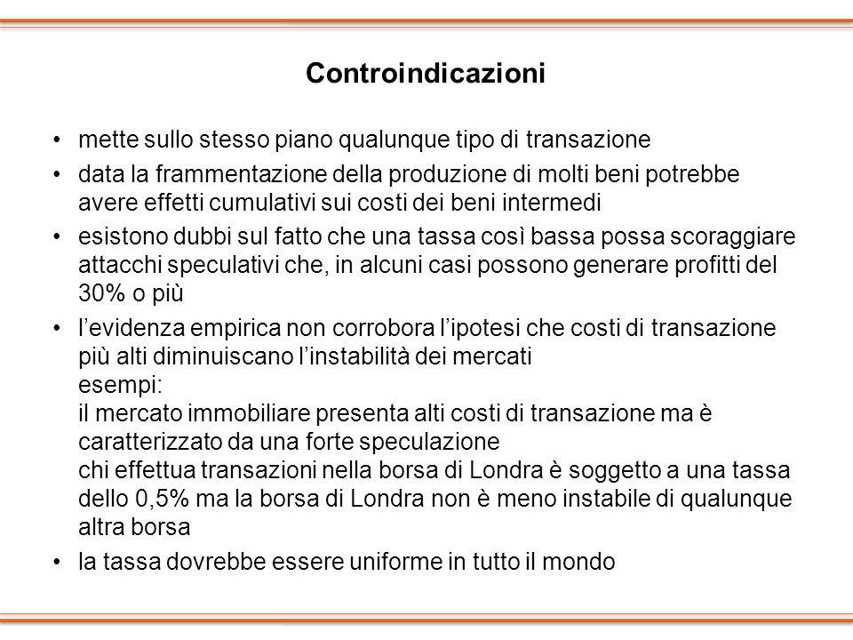 Controindicazioni mette sullo stesso piano qualunque tipo di transazione data la frammentazione della produzione di molti beni potrebbe avere effetti