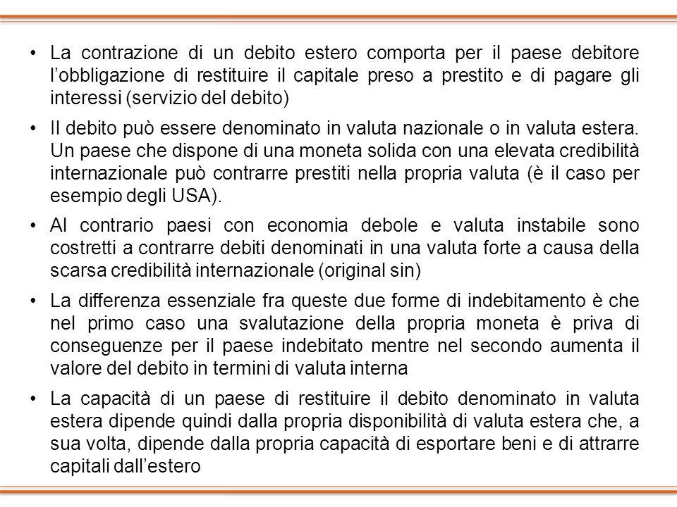 La contrazione di un debito estero comporta per il paese debitore lobbligazione di restituire il capitale preso a prestito e di pagare gli interessi (