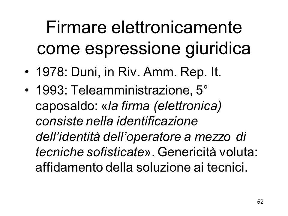 52 Firmare elettronicamente come espressione giuridica 1978: Duni, in Riv.