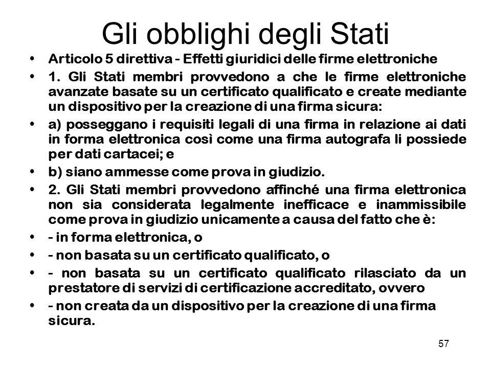 57 Gli obblighi degli Stati Articolo 5 direttiva - Effetti giuridici delle firme elettroniche 1.
