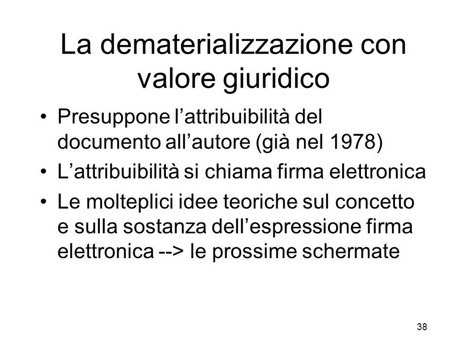 38 La dematerializzazione con valore giuridico Presuppone lattribuibilità del documento allautore (già nel 1978) Lattribuibilità si chiama firma elettronica Le molteplici idee teoriche sul concetto e sulla sostanza dellespressione firma elettronica --> le prossime schermate