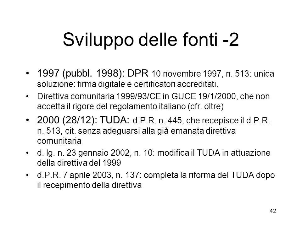 42 Sviluppo delle fonti -2 1997 (pubbl. 1998): DPR 10 novembre 1997, n.
