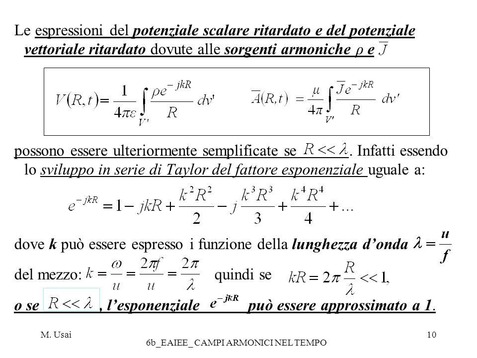 M. Usai 6b_EAIEE_ CAMPI ARMONICI NEL TEMPO 10 Le espressioni del potenziale scalare ritardato e del potenziale vettoriale ritardato dovute alle sorgen