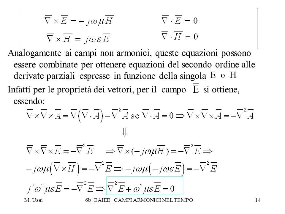 M. Usai6b_EAIEE_ CAMPI ARMONICI NEL TEMPO14 Analogamente ai campi non armonici, queste equazioni possono essere combinate per ottenere equazioni del s